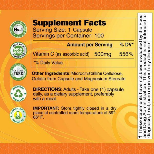 Vitamin C 500mg - Immune Support - 100 Capsules per Bottle - 2 PACK 2