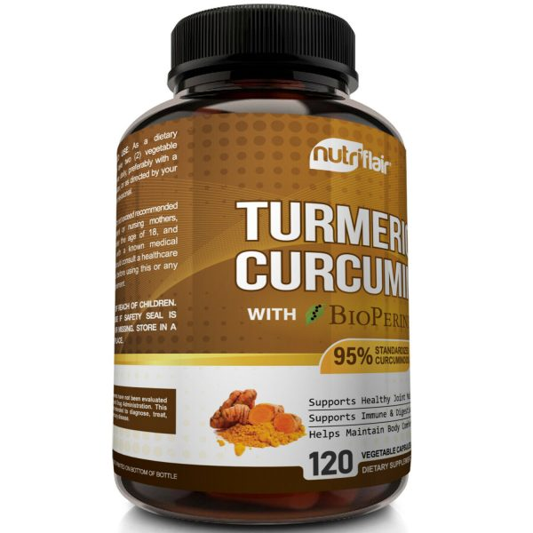 ☀ Turmeric Curcumin with BioPerine Black Pepper 95% Curcuminoids 1300mg 120 caps 4
