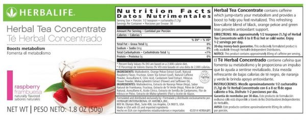 Herbalife 1.8oz Raspberry Flavor Herbal Tea Concentrate 1