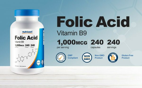 Nutricost Folic Acid (Vitamin B9) 1000 mcg, 240 Capsules - Gluten Free & Non-GMO 2
