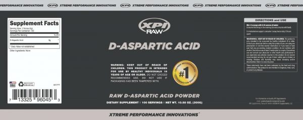 XPI Raw D-Aspartic Acid Powder 300 Grams, 100 Servings - Testosterone Support 4