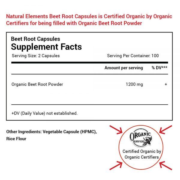 Organic Beet Root Capsules - 1200mg per serving - 200 Capsules - 3 Month Supply 2