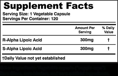 Simply Nature's Pure Alpha Lipoic Acid 600mg 120 veggie 4 month supply ALA R-ALA 4