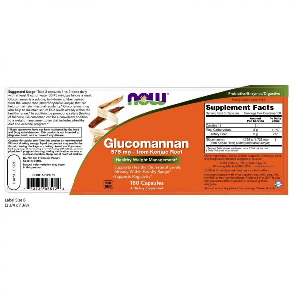 NOW Foods Glucomannan, 575 mg, 180 Capsules 1