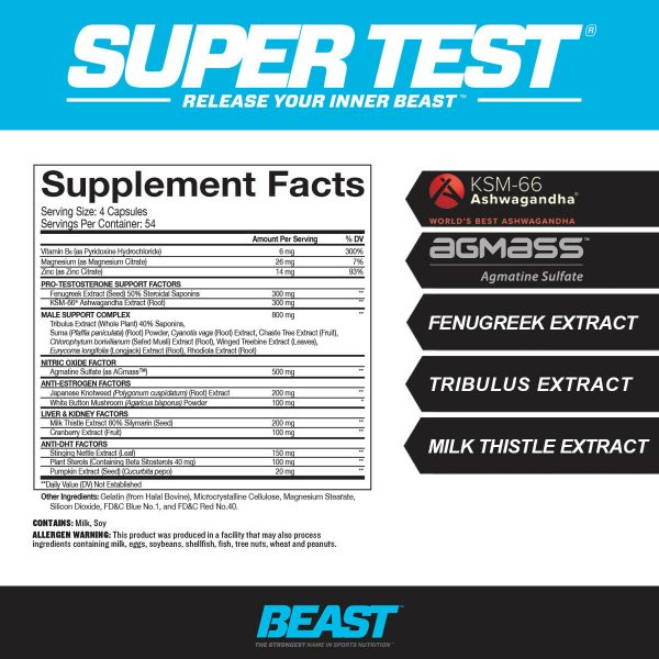 Beast Sports Super Test 216 ct: The Ultimate Testosterone Booster: Best by 4/21 2