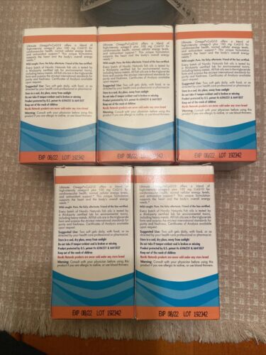 5 BOXS Nordic Naturals Ultimate Omega + CoQ10 soft gel 1280mg w/60 ea EXP 9/2022 1