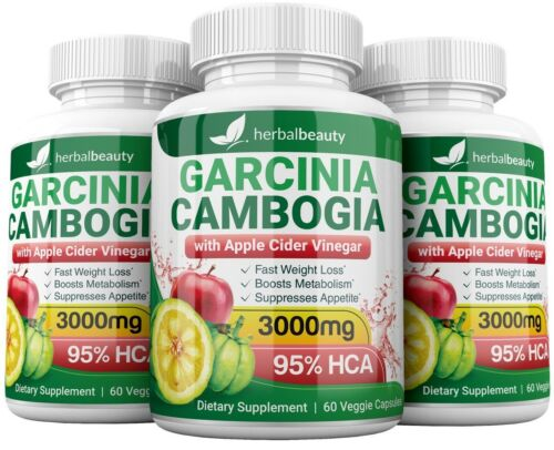 3 x Herbal Beauty GARCINIA CAMBOGIA 95% + APPLE CIDER VINEGAR Weight Loss 3000mg 3