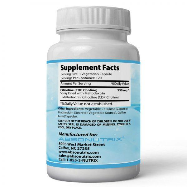 Absonutrix Citicoline CDP Choline 530mg 120 Veg cap Brain Health Cognitive Skill 2