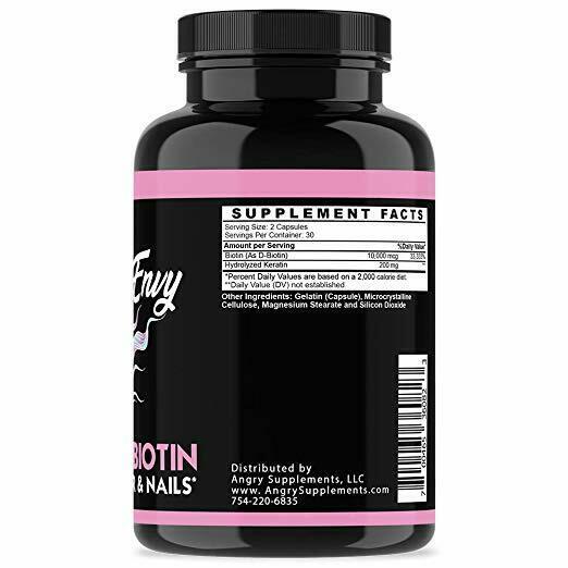Angry Supplements Women Hair Envy Biotin + Keratin 10,000 MCG All Natural 60 Ct 3