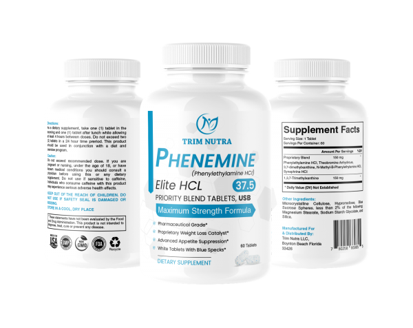 Phenemine Elite Best 37.5 P White/Blue Tabs Slimming Diet Pills That Work 375 P 4