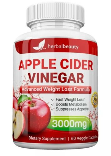 Herbal Beauty APPLE CIDER VINEGAR Pills 3000mg PURE WEIGHT LOSS 60 CAPSULES USA 1