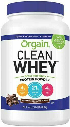 Orgain Grass Fed Clean Whey Protein Powder, Chocolate Fudge 2.46lb EXP 12/2020