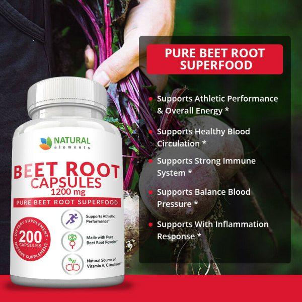 Organic Beet Root Capsules - 1200mg per serving - 200 Capsules - 3 Month Supply 4