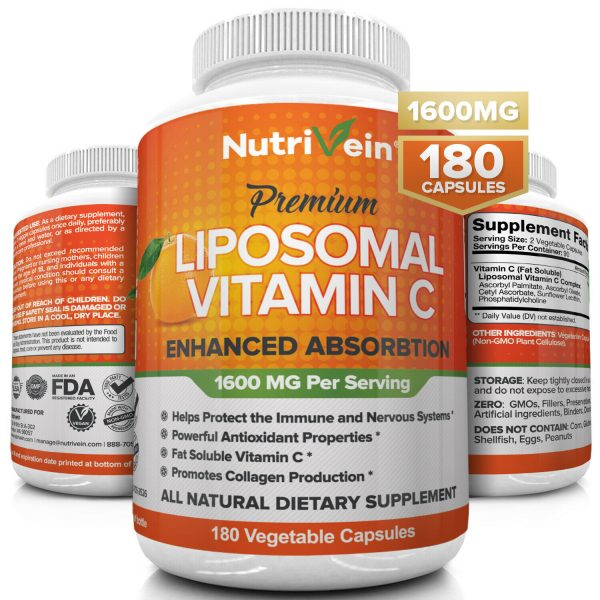 Nutrivein Liposomal Vitamin C 1600mg -180 Capsules - High Absorption Supplements