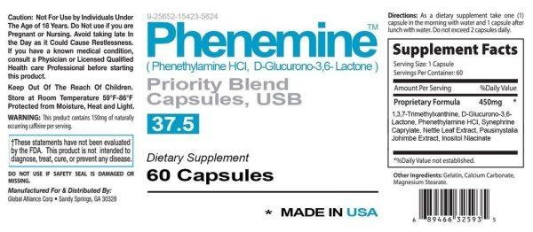 3 Phenemine Slimming Adipex Best Diet Pills Appetite Suppressant Supplement 37.5 3