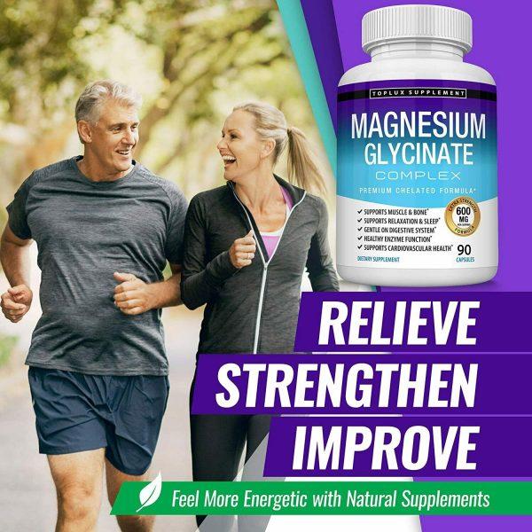 Magnesium Glycinate 525 MG Complex 90 Capsules125% DV High Absorption Magnesium  4