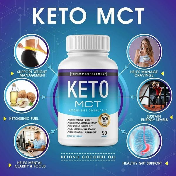 Keto MCT Diet Pills 2000 MG (180 CAPSULES) Weight Loss Fat Burner Supplement  2