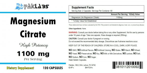 Magnesium Citrate 1100 mg Serving 120 Capsules High Potency Big Bottle 1