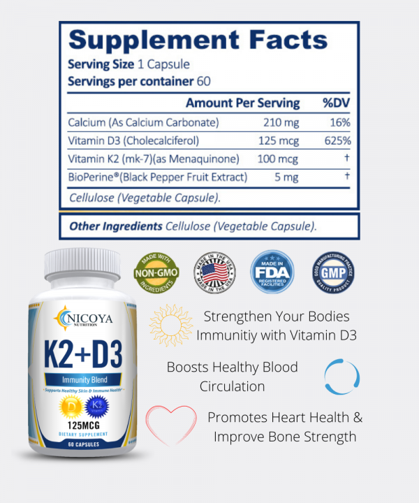 Vitamin K2 D3 Vitamin Supplement with BioPerine, Boost Immunity & Heart Health 2