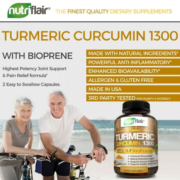☀ Turmeric Curcumin with BioPerine Black Pepper 95% Curcuminoids 1300mg 120 caps 8
