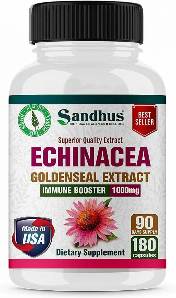 Echinacea Goldenseal Vegetarian Capsules 180 Ct- Immune Booster 1000 mg