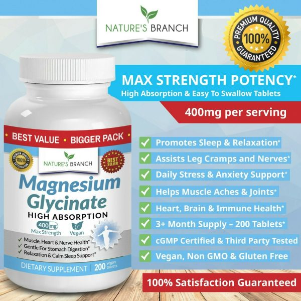 BEST MAGNESIUM GLYCINATE 400 MG – 200 TABLETS – HIGH ABSORPTION PURE MADE IN USA 2