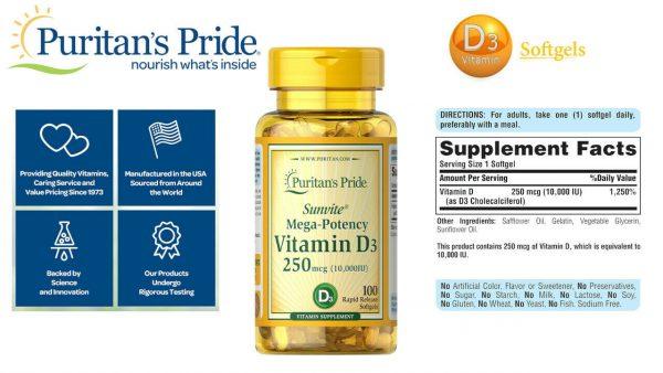 Vitamin D3 10000 IU Puritans Pride Rapid Release 100 Softgels 250 mcg Sunvite