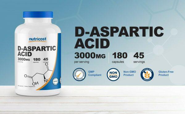 Nutricost D-Aspartic Acid Capsules (180 Capsules) (3000mg Serving) 2