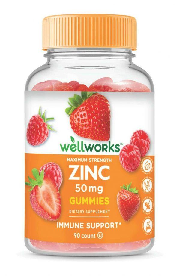 WellWorks Zinc Gummies 50 mg,  Great Tasting Natural Flavor, 90 Gummies