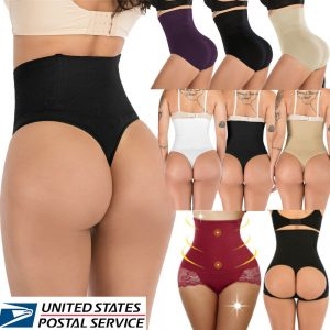 US Lady Boned Tummy Control Body Shaper High-Waist Trainer Thong Panty Shapewear