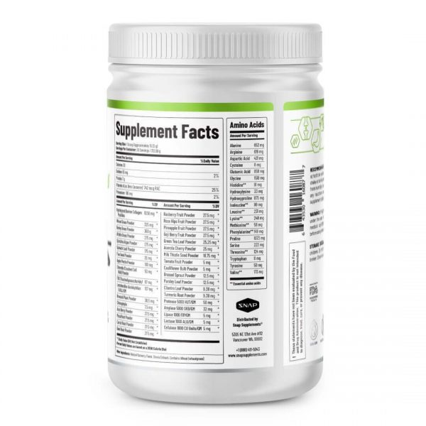 Organic Super Greens Collagen Peptides Powder - Green Juice Superfood - 12 oz 1