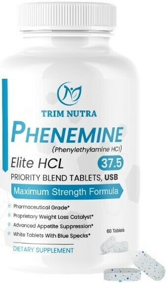 Phenemine Elite Best 37.5 P White/Blue Tabs Slimming Diet Pills That Work 375 P