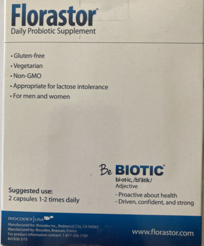 Florastor Daily Probiotic Supplement, 100 Capsules,  Expires 03/2021 !! 4
