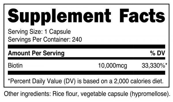 Nutricost Biotin (Vitamin B7) 10,000mcg (10mg), 240 Capsules 1