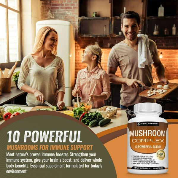 Mushroom Complex Supplement (2 Pack) +10 Mushrooms Lions Mane Reishi Pills 4