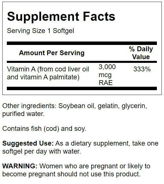 Swanson Vitamin a 10,000 Iu 500 Softgels 1
