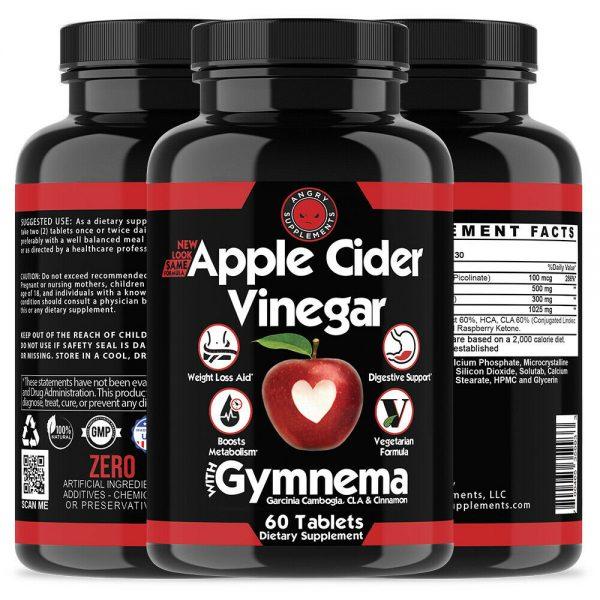 Weight Loss Apple Cider Vinegar w. Garcinia Pills ACV & CLA Fat Burner, 60 ct 1P 2