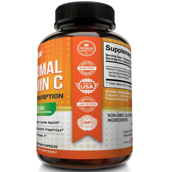 2X - Liposomal Vitamin C 1600mg, 360 CAPSULES High Absorption Vitamin C Pills  3