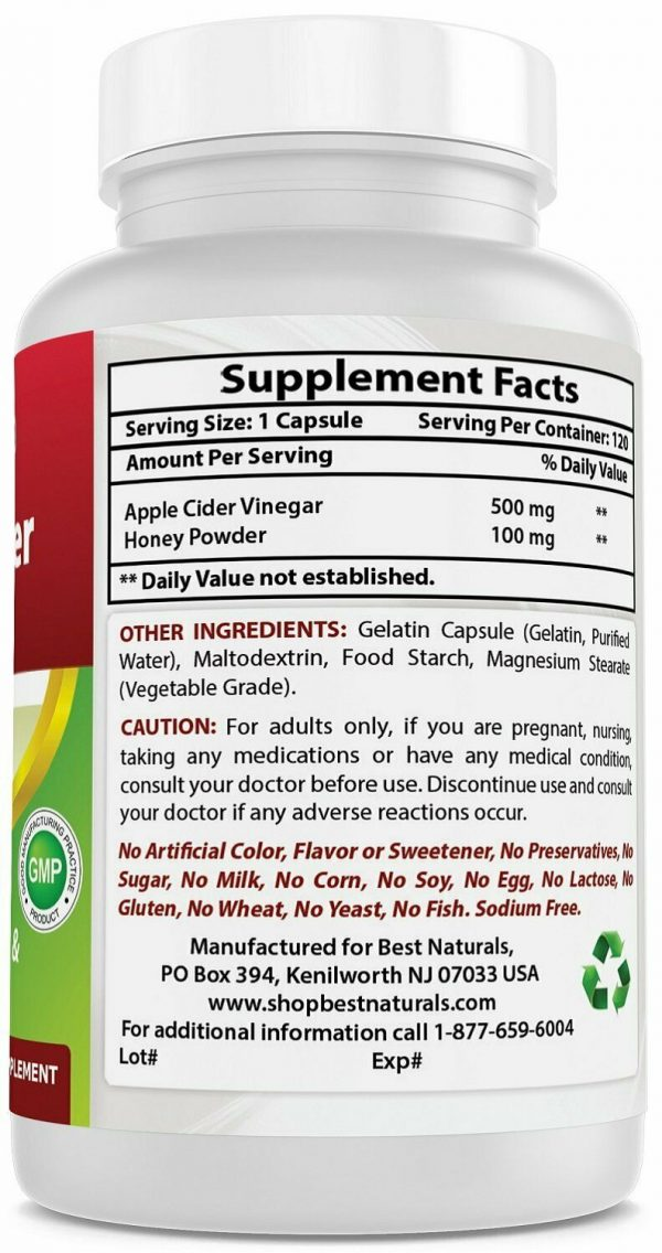 Best Naturals Apple Cider Vinegar Plus Weight Loss Supplement 120 Capsules  4