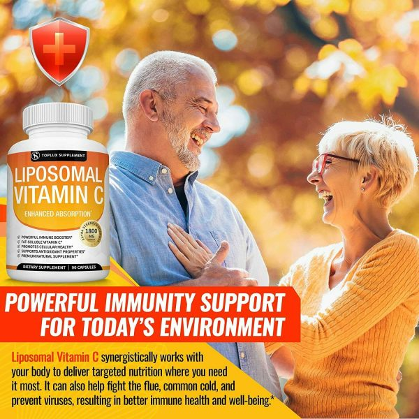 Liposomal Vitamin C 1800 MG Capsules (2 PACK) High Absorption Vitamin C Pills  5