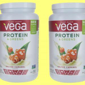 2 PACK Vega Protein & Greens SLATED CARAMEL Plant Based Protein Powder