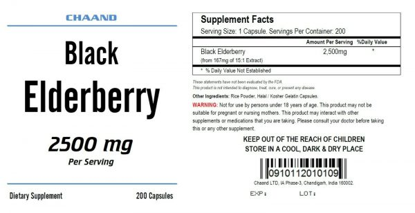 Black Elderberry Capsules 2500mg 200 Pills, Immune Support, Non-GMO, Gluten Free 1