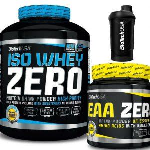 Biotech USA ISO WHEY ZERO 2270g + EAA ZERO 350g  Muskelaufbau & Diät + Shaker