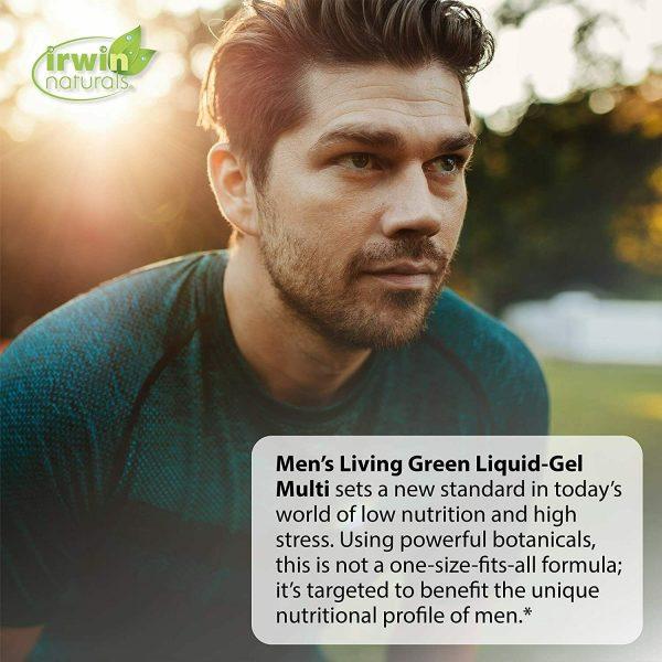 Irwin Naturals Men's Living Green Liquid-Gel Multi - 70 Essential Nutrients, - 2