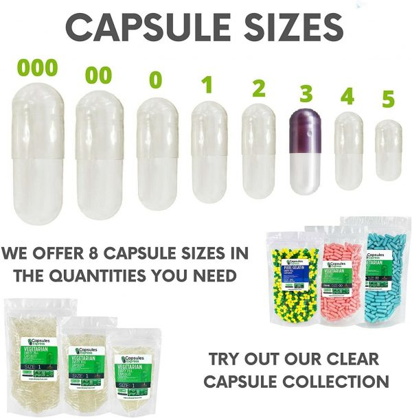 Capsules Express- Size 4 Purple Pearl & White Pearl Empty Gelatin Capsules Pills 4