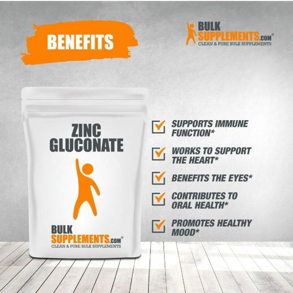 BulkSupplements.com Zinc Gluconate Powder - Raw Zinc - Zinc Supplements 3