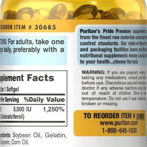 Puritan's Pride Vitamin D3 5000 IU - 200 Softgels 1