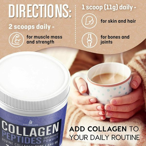 Collagen Powder Premium Peptides Hydrolyzed Anti-Aging Unflavored 1LB 4 Pack 1