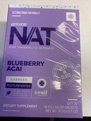Pruvit Keto OS NAT Ketones - Charged - BLUEBERRY ACAI - 20 Packets (Sealed box)