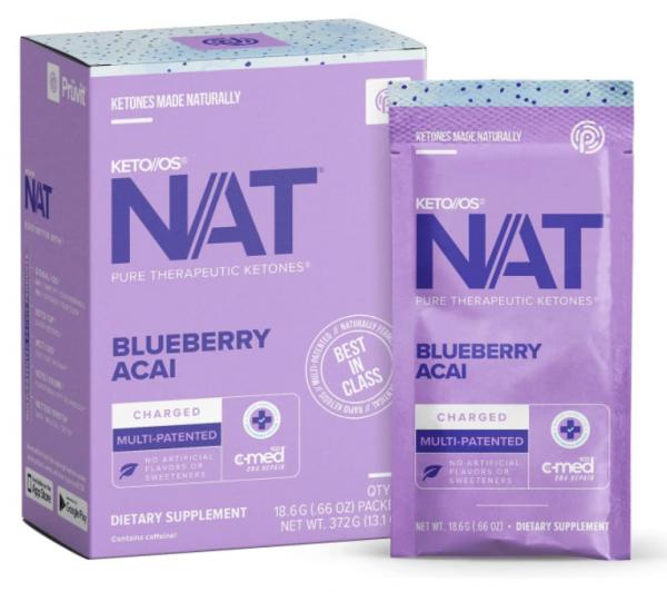 Pruvit Keto OS Nat Blueberry Acai (Charged & Caffeine Free) 5, 10 & 20 Packs